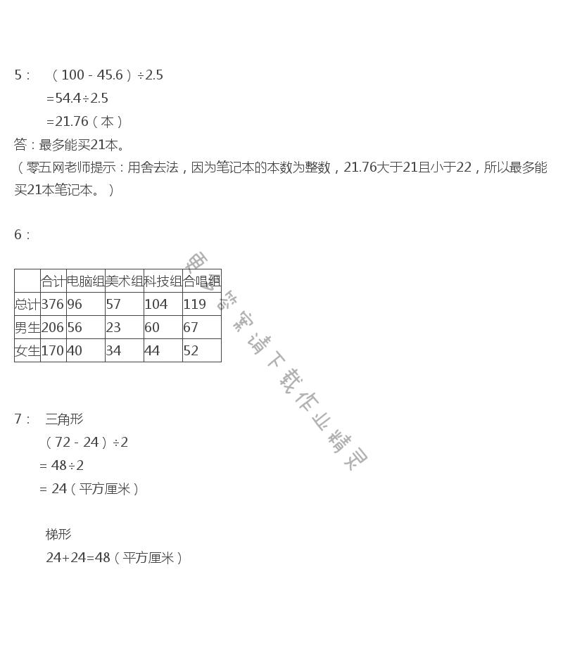 苏教版五年级上册数学练习与测试答案第120页