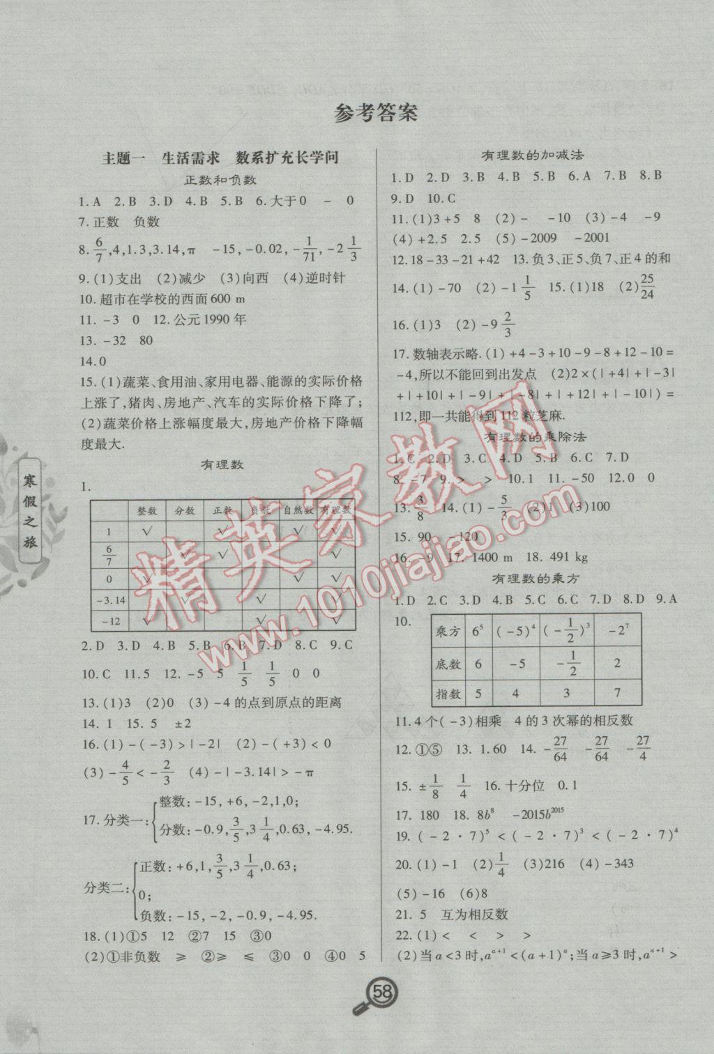 2017年Happy寒假作业快乐寒假七年级数学参考答案第1页