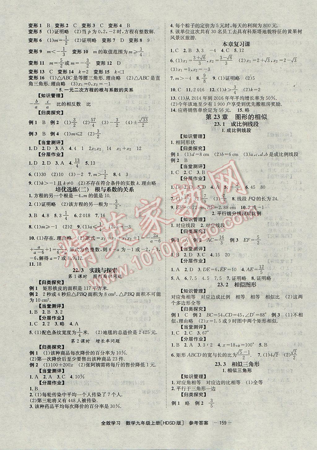 2017年全效学习九年级数学上册华师大版北京时代华文书局参考答案第3页