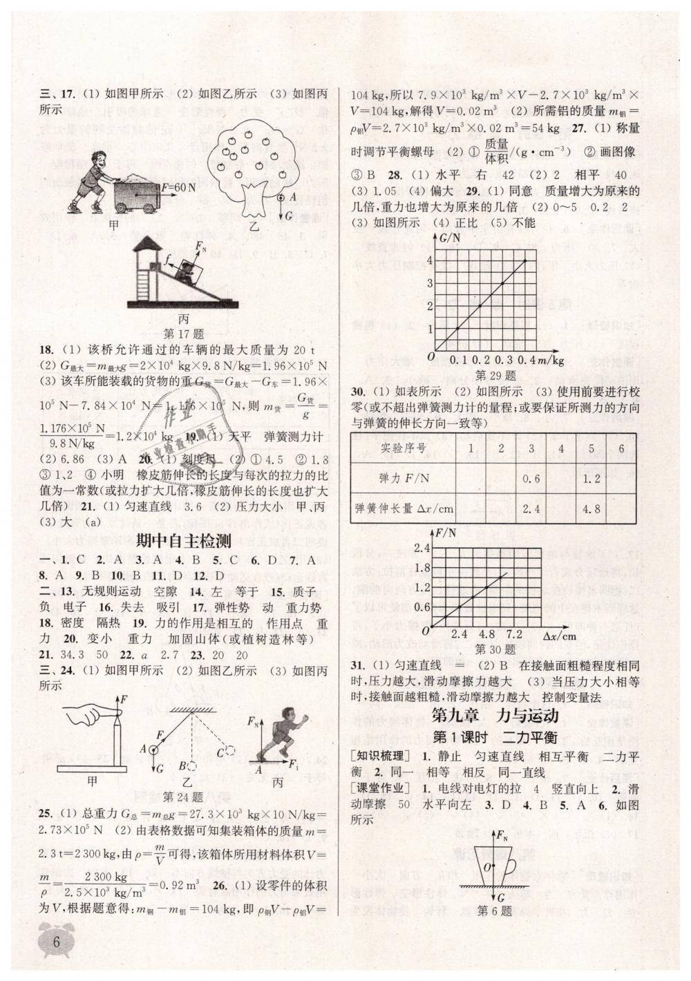 2019年通城学典课时作业本八年级物理下册苏科版江苏专用第6页