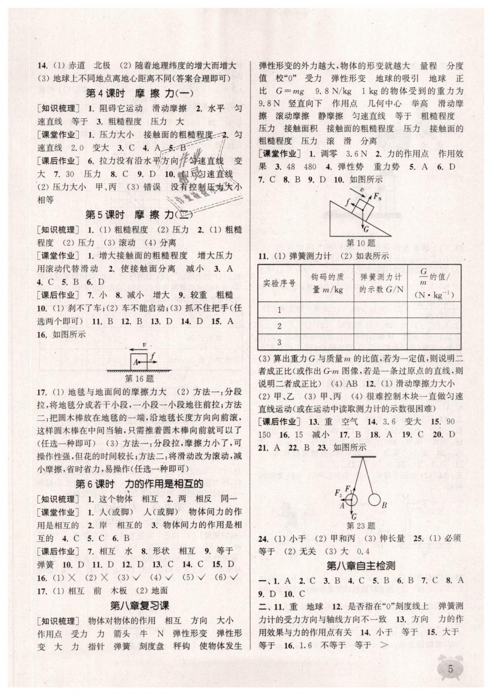 2019年通城学典课时作业本八年级物理下册苏科版江苏专用第5页