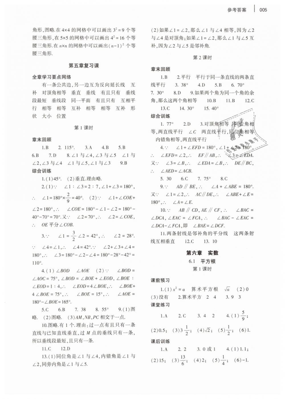 2019年基础训练七年级数学下册人教版大象出版社第5页