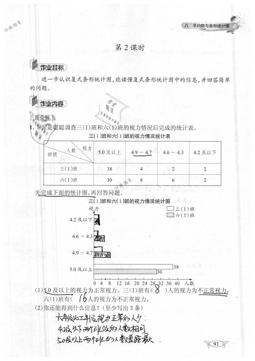2019年长江作业本同步练习册四年级数学下册人教版参考答案第91页
