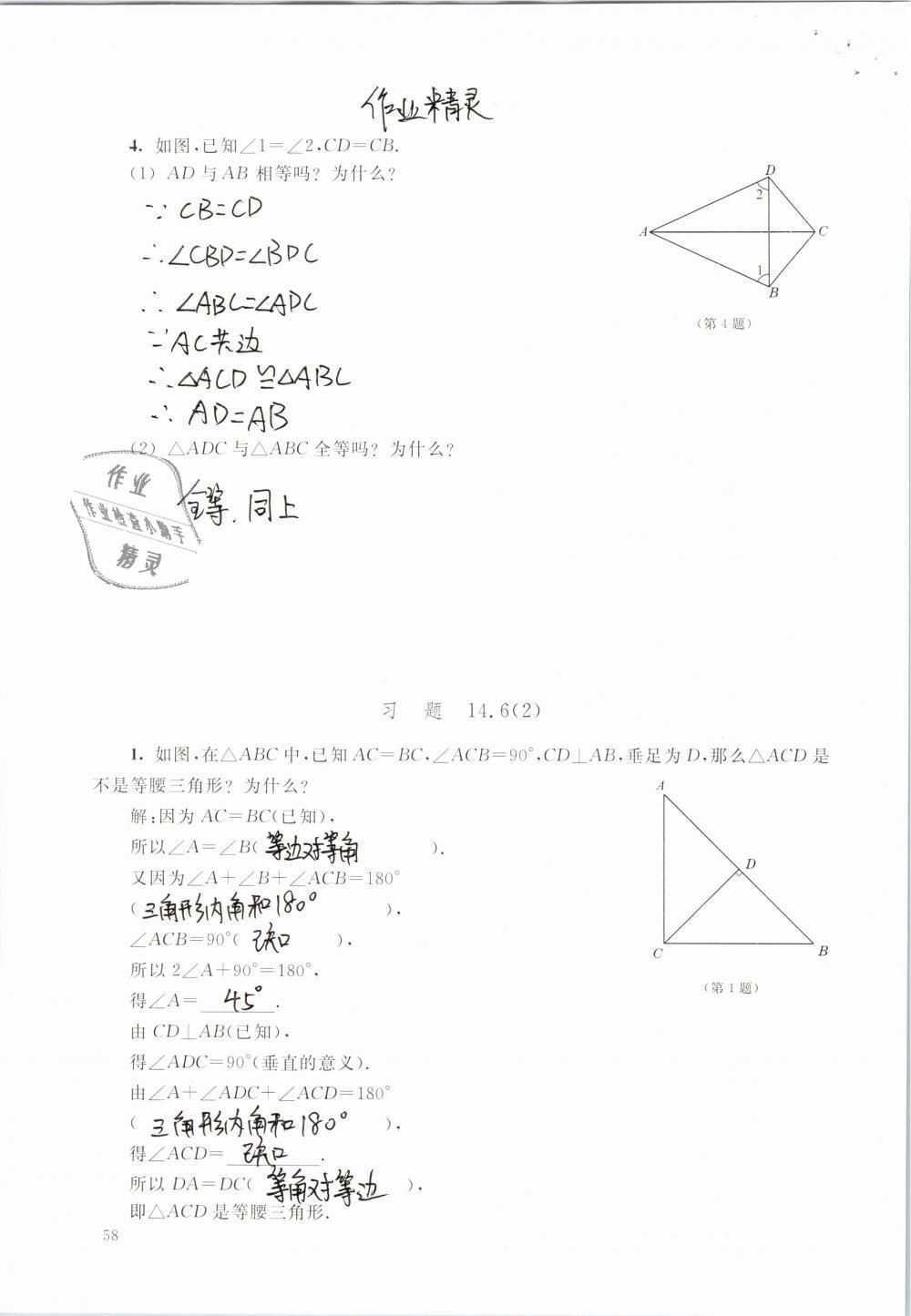 2019年数学练习部分七年级第二学期第58页