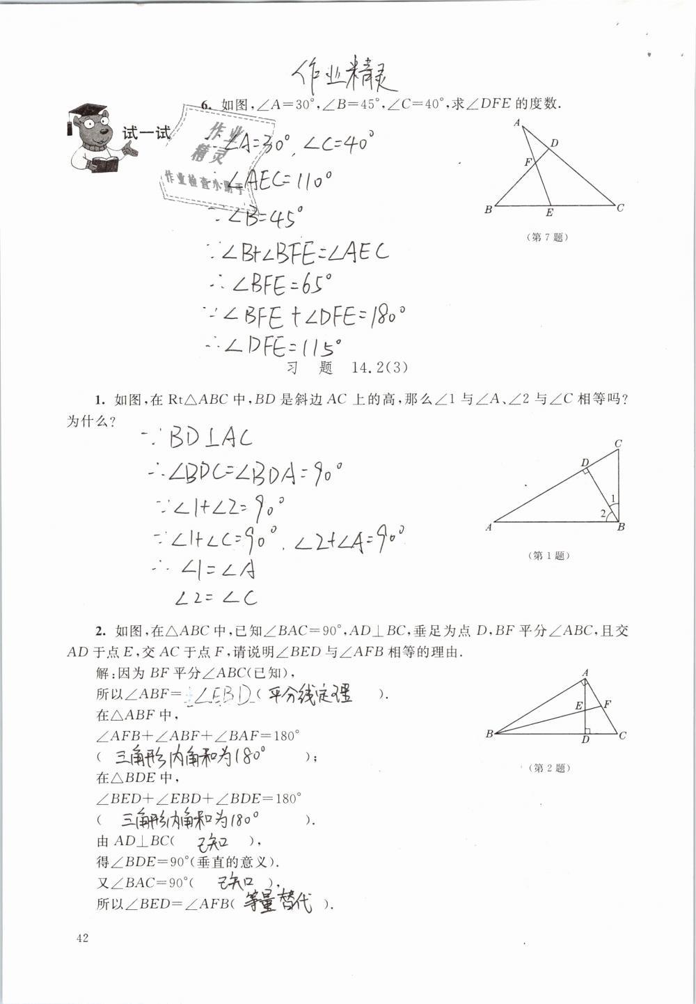 2019年数学练习部分七年级第二学期第42页