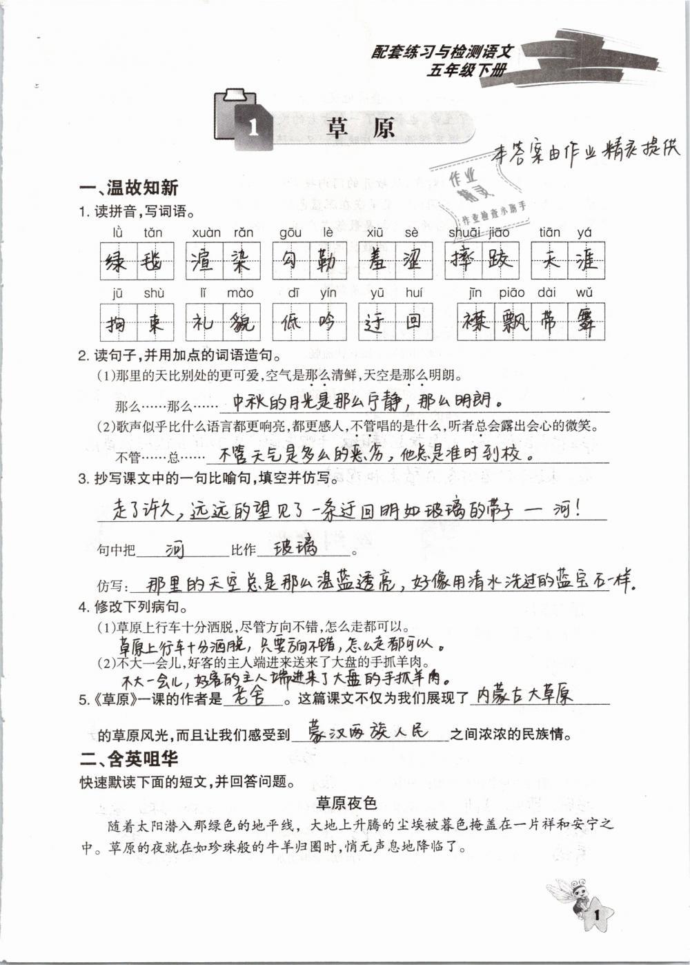 2019年配套练习与检测五年级语文下册人教版第1页