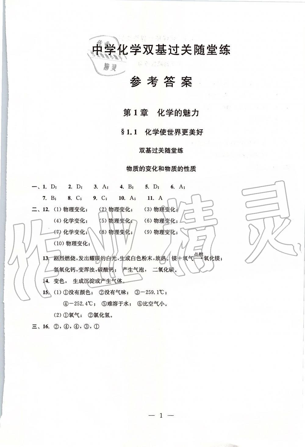 2019年初中化学双基过关堂堂练九年级全一册沪教版第1页