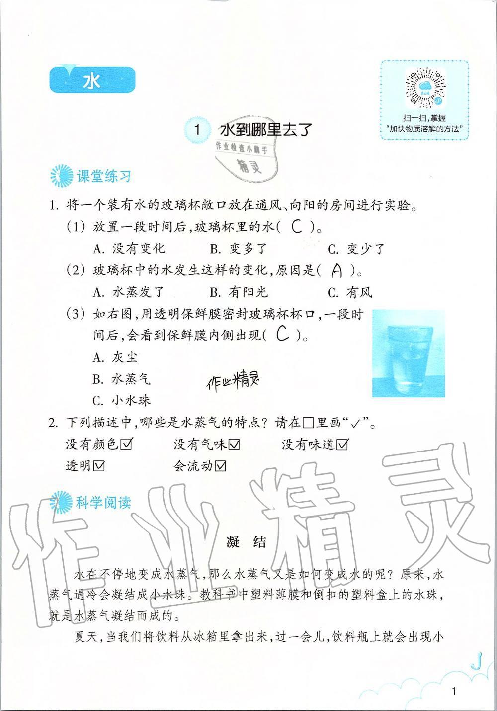 2019年科学作业本三年级上册教科版浙江教育出版社第1页
