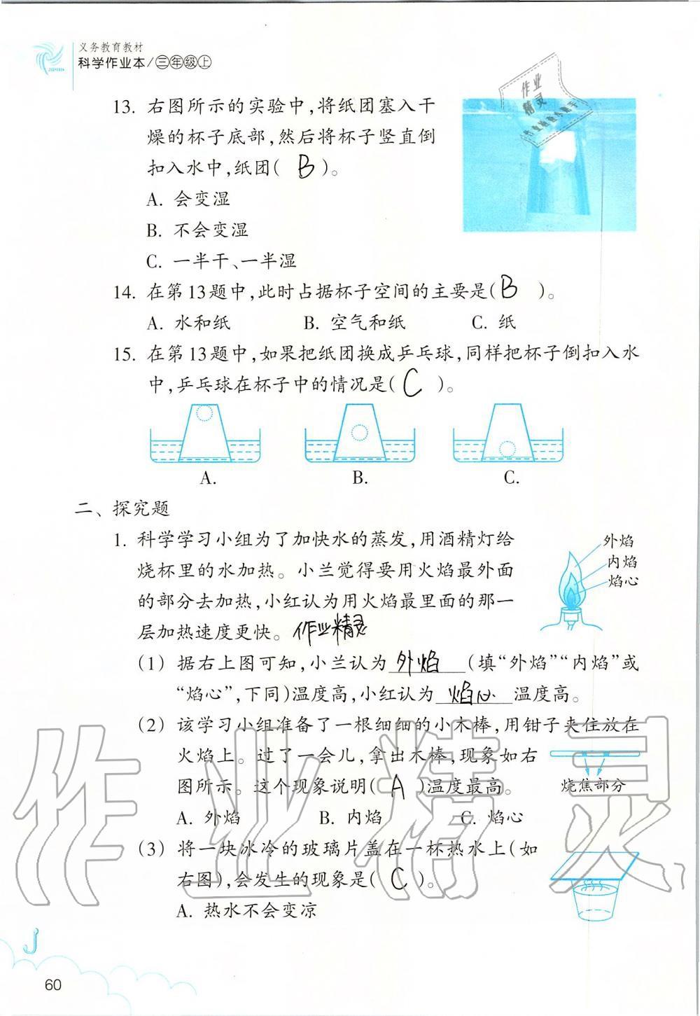 2019年科学作业本三年级上册教科版浙江教育出版社第60页