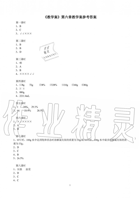 2020年初中教学案九年级化学下册沪教版第1页