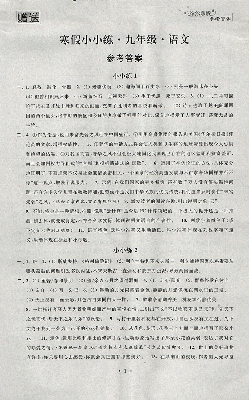 2019年寒假小小练寒假作业九年级语文数学英语物理化学合订本第1页