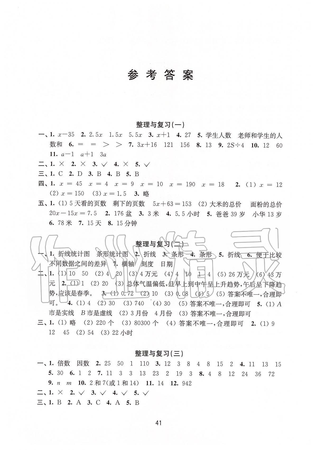 2020年小学数学强化练习五年级下册苏教版第1页