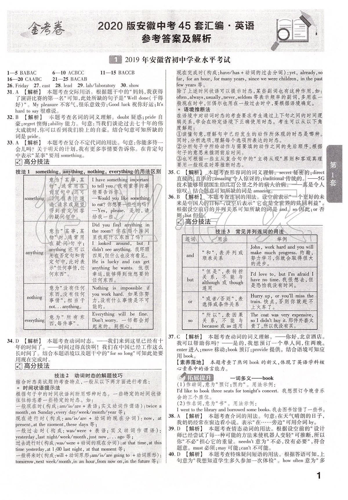 2020年金考卷安徽中考45套汇编英语第1页