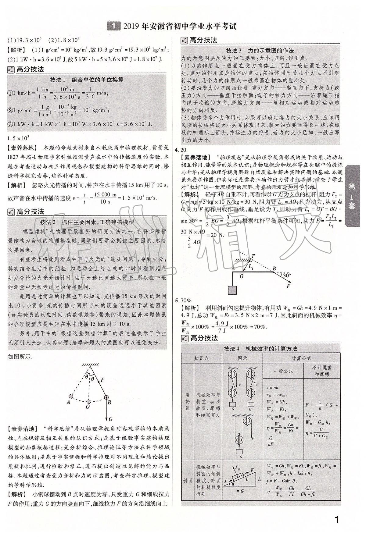 2020年金考卷安徽中考45套汇编物理第1页